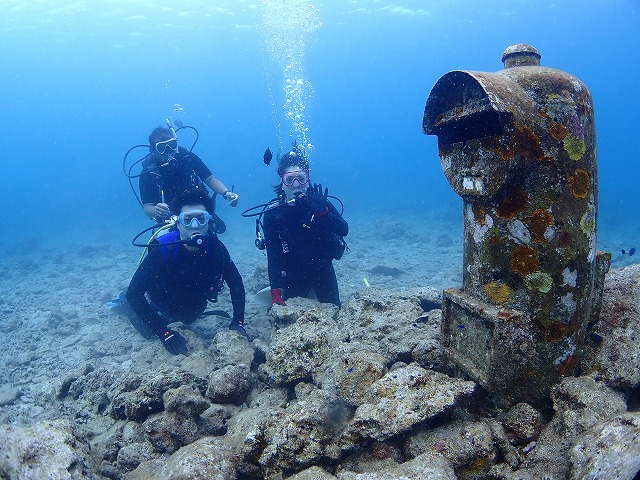 沖縄 体験ダイビング 水中ポスト